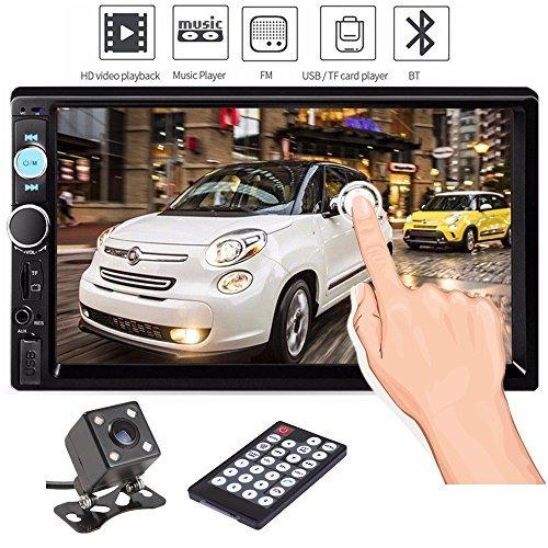 Ewalite Doppel-Din-Autoradio mit 17,8 cm (7 Zoll) Touchscreen im Armaturenbrett, Audio-Video-Player, unterstützt Bluetooth FM MP3, MP5, TF, USB, AUX/Subwoofer mit Rückfahrkamera + Fernbedienung