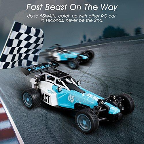 Virhuck 2 x Batería 1:24 Escala RC Coche Control Remoto de Radio 2WD de Alta Velocidad 15KM / H Rápido Bestia con Coche de Carreras Rápido RTR Eléctrico Camión para Niños (Azul