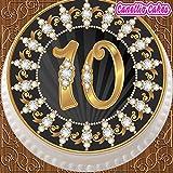 Vorgestanzte, essbare Dekorations-Zuckergussfolie, runder Tortenaufsatz mit ca. 19 cm Durchmesser, schwarz und gold, 10. Geburtstag Z16
