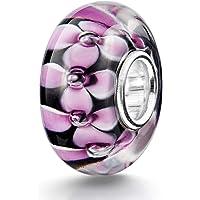 MATERIA - Ciondolo in vetro di Murano con ciondolo a forma di fiore, colore: nero e rosa, con inserto in argento 925…
