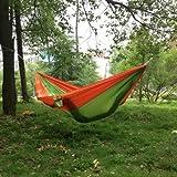 Enjoydeal Outdoor Traveling Camping Parachute Nylon Fabric Hammock (Green &Orange)