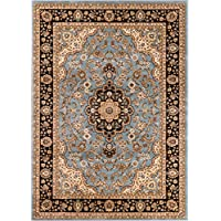 Noble Medallion Light Blue Persian Floral Oriental Formal Traditional Area Rug 160 X 220 Cm Easy