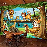 Loaizh Benutzerdefiniert Dekoration Dreidimensional Cartoon Animal World Lion Tiger Giraffe Children Background 3D Tapete Wandbild Wandaufkleber Wallpaper 300Cmx240Cm