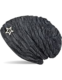 styleBREAKER warme Feinstrick Beanie Mütze mit Wellen Muster und Schmuck Stern, sehr weiches Fleece Innenfutter, Unisex 04024099