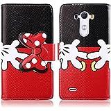 Dokpav® LG G3 Funda,Ultra Slim Delgado Flip PU Cuero Cover Case para LG G3 con Interiores Slip compartimentos para tarjetas-Cartoon Rojo bow