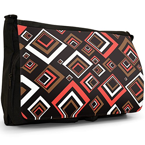 Fancy A Bag Borsa Messenger nero Abstract Reflections Square Tunnel Patterns In Red Brown White