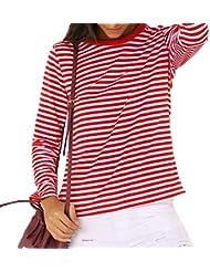 Maxquoia - Camiseta Mujer Camisa Manga Larga a Rayas Suelta