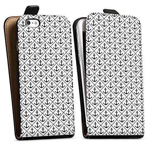 Apple iPhone X Silikon Hülle Case Schutzhülle Anker Anchor Muster Downflip Tasche schwarz