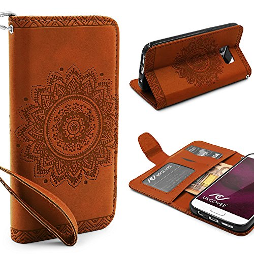 URCOVER® Mandala Pattern Case Wallet | Samsung Galaxy S7 | Flip Cover Simil cuir in Marron | Peau Coque Portefeuille Clapet Stand Rabat Élegant Étui Protection Portable