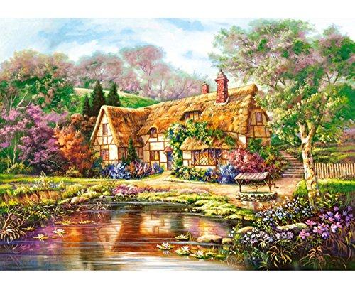 Unbekannt Puzzle 3000 Teile - großes Cottage am See - Bauernhof / Bauernhaus - Landschaft...