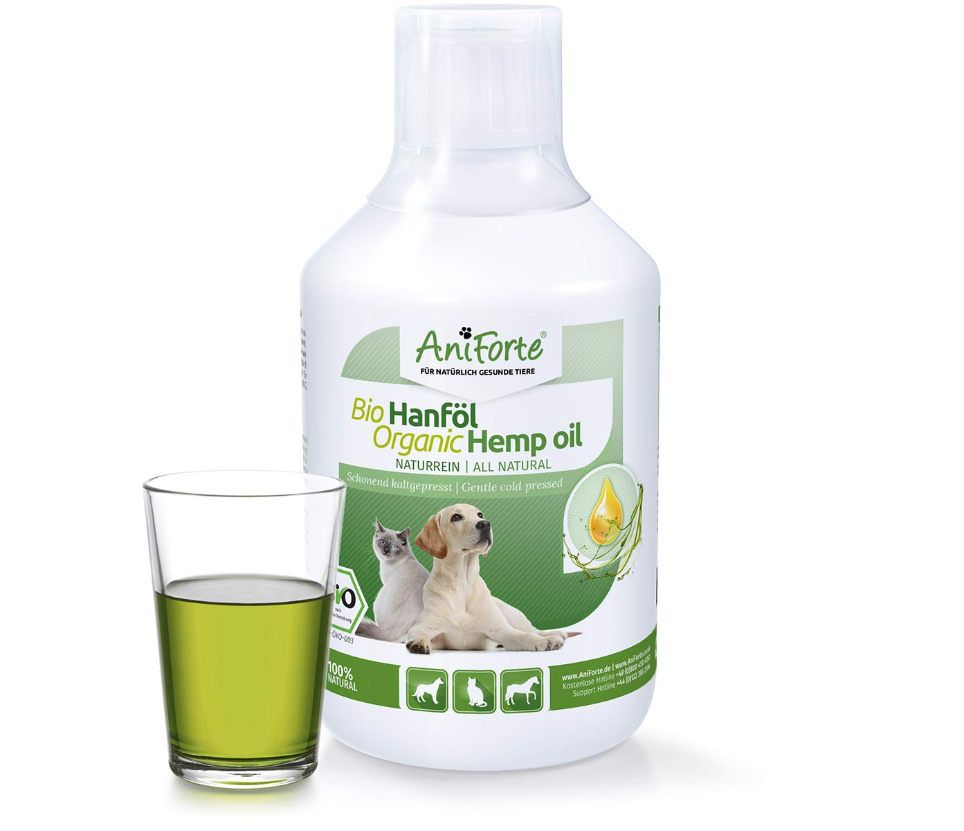 AniForte Organic Hemp Oil for Dogs & Cats 500ml – Joint Supplement for Pets, Supports Coat, Skin, Joints, Cold Pressed Hemp Seed Oil, Rich in Natural Omega 3 and 6, Feed Supplement, Barf Additive