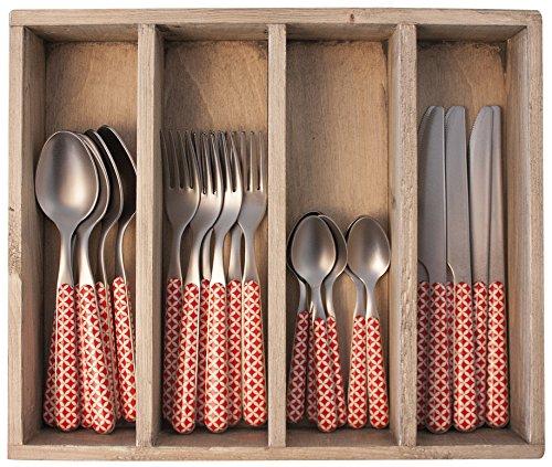 Provence rétro dîner Ensemble de Couverts en Acier Inoxydable, bac, Rouge, 33.5 x 29.5 x 6.5 cm