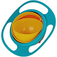 PrimeOne Spill Gyro Bowl for Baby and Kids, 360 Degree Rotation Spill Proof Food Bowl, Orange and Green, Pack of 1