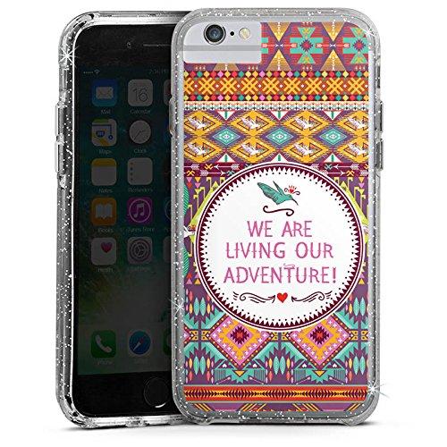 Apple iPhone 7 Bumper Hülle Bumper Case Glitzer Hülle Ethno Abenteuer Adventure Bumper Case Glitzer silber