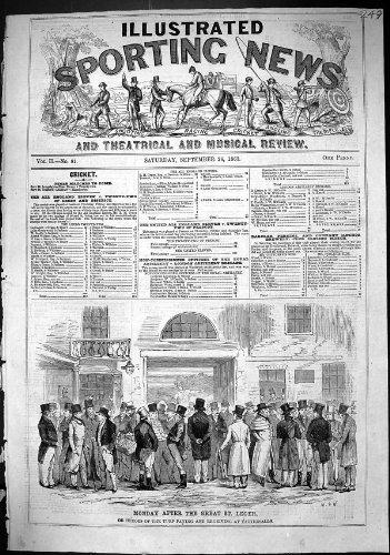 Pferderennen-Held-Rasen 1863 St. Leger, der Tattersalls Wetten Empfangend Zahlt