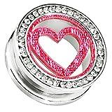Piersando® Flesh Tunnel Ohr Piercing Plug Ohrpiercing Schmuck Schraub mit Kristallen Glitter Motiv Herz Inlay Silber Pink 12mm