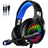 iFCOW Head- mounted Computer Gaming Headset Wired Gaming Headset Surround Stereo Noise- canceling Headphone with Microphone L