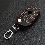9 MOON - Funda de cuero suave para llaves de coche con telemando, diseño en 3D, adecuada para modelos BMW (Serie 2, 3, 4, 5, 6 y 7), color negro con costuras rojas