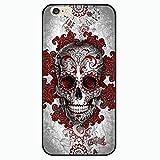 Coque Rigide pour iphone 5 , 5S et 5SE modele tete de mort punk crane , squelette , croix bordeaux