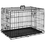 Home Discount Pet Cage With Tray, Folding Dog Puppy Animal Crate Vet Car Training Carrier Metal, 30 Inch