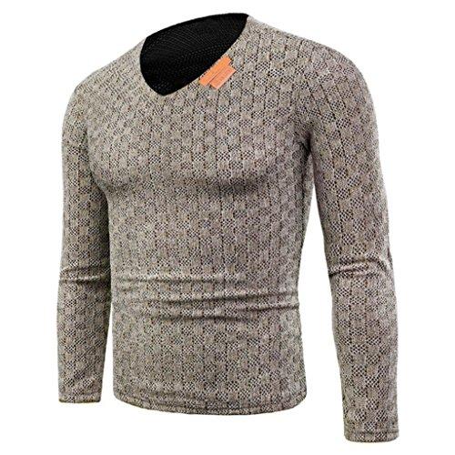 Strick Pullover Herren, DoraMe Männer Herbst Winter Pullover Mode V Hals Strickwaren Hemd Langen Ärmeln Slim Bluse(Bitte wählen Sie eine...
