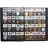 60 Countries Coins Collection Set Fine Coins 100% Original Genuine With Leather Collection Album Country Name And Flag