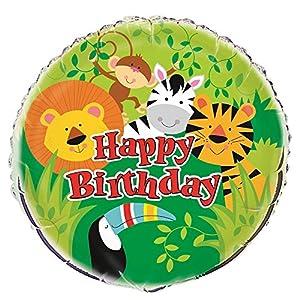 Unique Party- Globo Foil de Cumpleaños Fiesta de Animales de la Selva, Multicolor, talla única (52167)