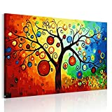 RAIN QUEEN Bunte Obstbaum HD Bilder Bilderrahmen Deko Leinwand Kunstdruck Oil Painting Canvas Landschaft Natur Holz Rahmen (ready to hang) (ready to hang, Obstbaum)