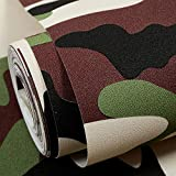 PVC camuffamento carta da parati tessuto contatto carta di lino cucina rimovibile adesivi backsplash adesivi porta controsoffitto top fodere (053 m * 10 m, camouflage) YZPBZ (Color : B)