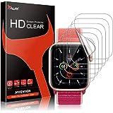 TAURI 6 Pack Protector de Pantalla para Apple Watch 44mm Series 6 5/4/SE y Apple Watch Series 3/2/1 42mm, sin Burbujas Funda