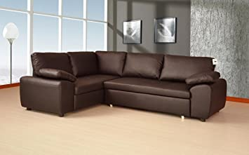 Marvelous Lovesofas Enzo Bonded Leather Corner Sofa Double Sofabed With Storage Left Hand Glossy Brown Pabps2019 Chair Design Images Pabps2019Com
