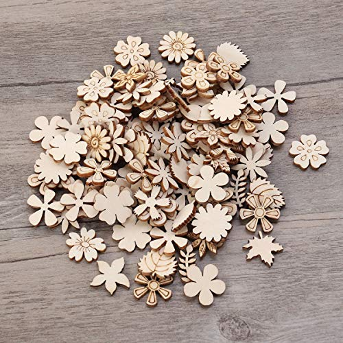 Healifty 100PCS Flower Leaf Shape Wooden Pieces Blank Wood Slices to Paint for DIY Art Craft Scrapbooking Embellishments 20mm (Mixed Pattern)