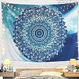 Dremisland Tapisserie Murale Mandala Hippie Indienne Bohème Tapisserie Bleu Fleur Psychédéliqu Tapisserie Tenture Murale Tapis Mural Tapestry(L / 148x200cm)