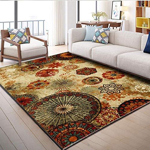 GJXY De Salón Moderna De Pelo Corto Diseño Estera marrón Mandala Rojo Estampado Dormitorio Alfombra de Piso Antideslizante Cocina,200x300cm