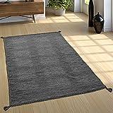 Paco Home Designer Teppich Webteppich Kelim Handgewebt 100% Baumwolle Modern Meliert Grau, Grösse:160x220 cm