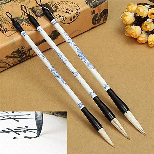 Tutoy 3Pcs Pinsel Pen Blau Und Weiß Bild Chinesische Japanische Kalligraphie