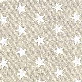 Fabulous Fabrics Weihnachtsstoff Weisse Sterne – beige