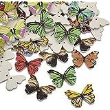 Pandahall Precio por 100 Piezas Mariposa teñido 2 hoyos de impreso botones de madera, color mezclado