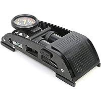 Bellveen Portable Double Barrel Floor Pump for Car Motorcycle Bike Tires Foot Air Pump Inflator with Pressure Gauge - Black Colour