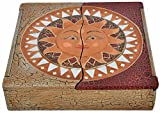 Schatulle aus leichten Albesia-Holz, handbemalt, Buddha oder Sonne , Motiv:- Sonne
