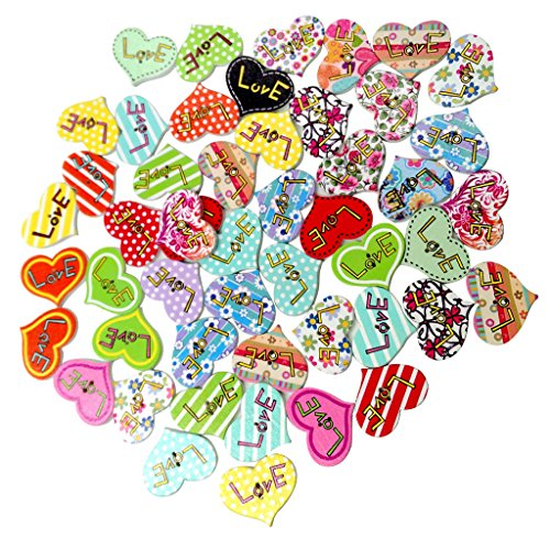 MagiDeal 50 Pieces Love Printed Heart Shape Wooden Buttons Scrapbooking Embellishment for Kids Craft Wedding Decoration
