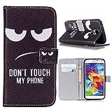 Galaxy S5 Hülle,Galaxy S5 NEO Case Linvei Handy Tasche Schutz Hülle im Bookstyle für Samsung Galaxy S5 / S5 NEO Wallet Case mit Standfunktion Schutzhülle mit Standfunktion Kartenfächer mit Weich TPU Innere Hülle Case (Schwarz,Don't Touch My Phone)