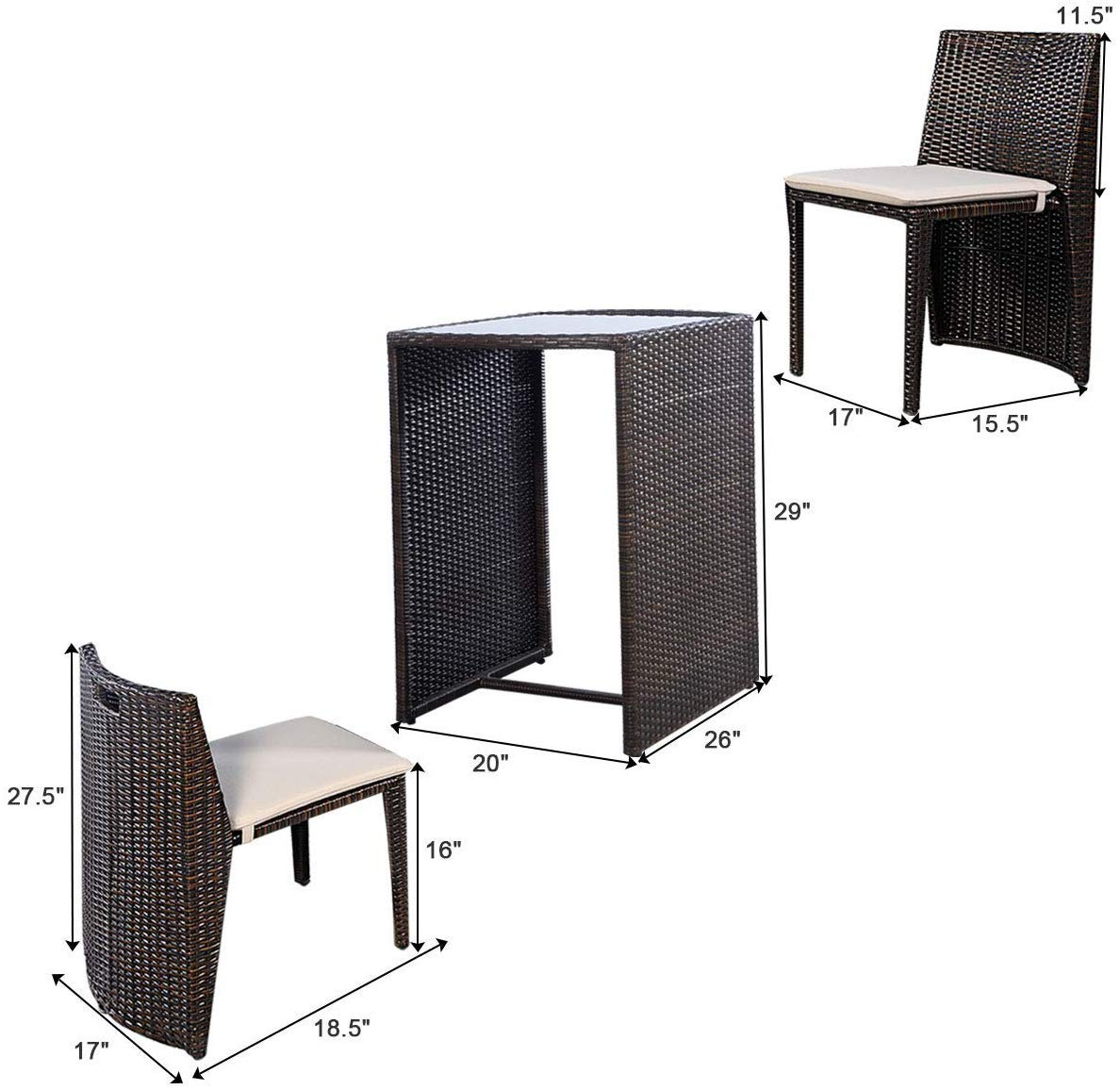 VBARV Outdoor wicker garden rattan chair tables and chairs, simple leisure card seat for easy storage of 3 pieces of…