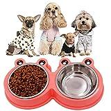 GPF Stazione Di Alimentazione Per Cani/Doppia Scodella Per Cani In Acciaio Inossidabile Senza Versamento Ciotole Di Alimentazione Antiscivolo/Ciotole Per Cani Per Sempre,Pink