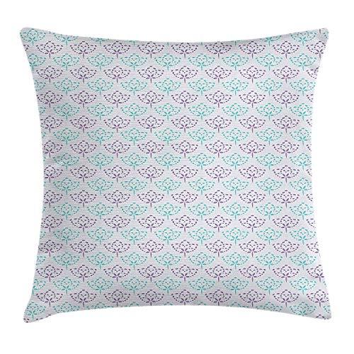 Funda de Cojín de Almohada Gris Púrpura Arreglo Floral Abstracto de Primavera con Fondo en Escala de Grises Funda Decorativa de Almohada Decorativa Cuadrada 18 X 18 Pulgadas Gris Púrpura Y Turquesa