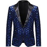 Men's Sequin Blazer Suit Jacket 1 Button Weddings Party Dinner Prom Tuxedo Shiny Coats