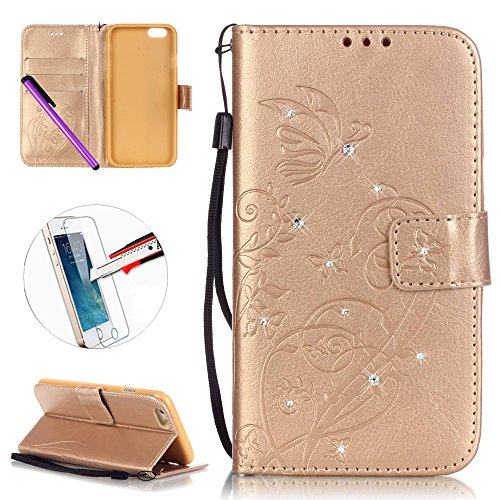 iPhone 7 Leder Hülle Wallet Book Cover, Newstars Blumen Prägung geprägt Touch PU Handy-Schutzhüllen Schützen Haut Leder Fall iPhone 7 Slim Fit Case Ständer Karte ID/Cash Pocket/Cash Pocket + 1 pcs Display Schutz Folie + 1 pcs Stylus-Stift(Diamonds Gold) (Fall Leder-id-karte)