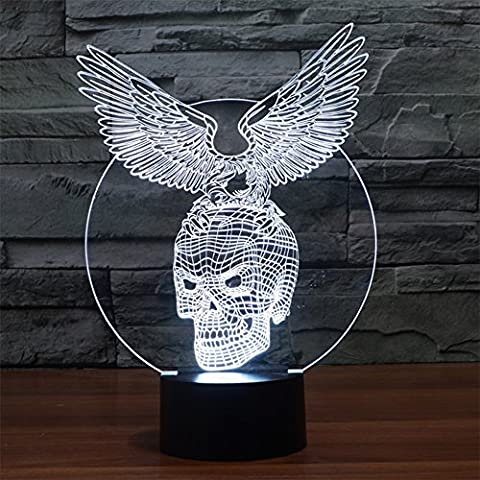 Finoki 3D Glow LED Lamp, Art Sculpture Lights up and 3D Optical illusion LED USB Night light 3D Acrylic Gradients Colored LED Night Light - Eagle Diao Skeleton