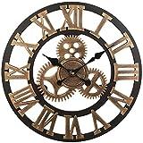 Soledi Reloj de Pared Engranaje Hueca Estilo Metš¢lico Mecš¢nico 40cm