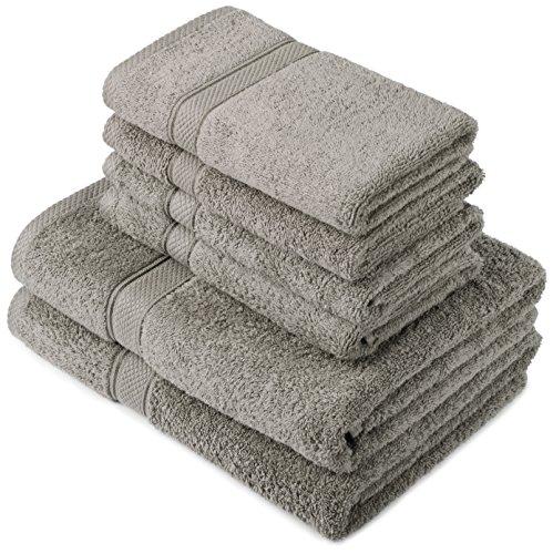 Pinzon by Amazon - Set di asciugamani in cotone egiziano, 2 asciugamani da bagno e 4 per le mani, colore: grigio